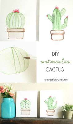 How to create your own cactus art using watercolors and a few supplies. Watercolors are such a forgiving medium and very easy to use!