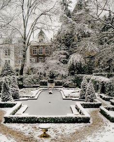 snow covered formal garden