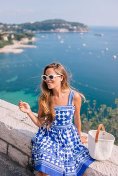 Gal Meets Glam Blue & White in Nice, France - Kate Spade NY dress, Castaner espadrilles & Raen sunglasses