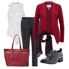 Look da ufficio comodo ed elegante e anche scontatissimo. I pantaloni  gessati blu si abbinano 3a0291275ad
