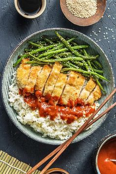 Japanese Panko Chicken with Sesame Green Beans and Tonkatsu-Style Sauce | More easy chicken recipes on hellofresh.com Easy Chicken Recipes, Asian Recipes, Healthy Recipes, Japanese Recipes, Asian Foods, Japanese Food, Hello Fresh Recipes, Food Inspiration, Entrees