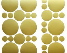 70 Gold polka dots stickers in set 2 sizes circle vinyl