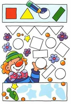 Busco las formas y las coloreo--great for shapes and colors--could use with my Great Elephant Book activities Circus Activities, Fun Activities For Kids, Book Activities, Preschool Activities, Clown Crafts, Circus Crafts, Teaching Geometry, Teaching Shapes, Art Education Lessons