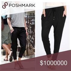 ✨COMING SOON ✨ Black Boho Jogger Pants ❤️Like this listing to be notified when item arrives. Enjoy the casual yet well dressed look of these boho black jogger pants. Comfort and style!! Drawstring detail that can also be tucked away. Two side pockets. 95% rayon and 5% spandex. All sizes available S/M and L/XL. Boutique Pants Track Pants & Joggers