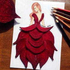 Armenian fashion illustrator Edgar Artis creates gorgeous dress designs with everyday objects he finds at home. From a Nutella dress, to paper clip garments, Edgar doesn't seem to be running out of ideas anytime soon. Dress Design Sketches, Fashion Design Drawings, Dress Designs, Fashion Sketches, Arte Fashion, Floral Fashion, High Fashion, Fashion Illustration Dresses, Fashion Illustrations