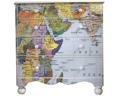 This classic Victorian chest of drawers has been covered with a map of the world and finished with environmentally friendly high gloss lacquer making it durable and suitable for every day use. These special pieces are all one-offs and made to order. Further options available, please call 02033 841 307.
