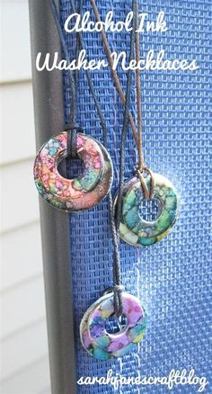 Jewelry OFF! Alcohol Ink Washer Necklaces-this might be good for holiday gift shop Cindy Salisbury Alcohol Ink Jewelry, Alcohol Ink Crafts, Alcohol Ink Art, Washer Crafts, Miyuki Beads, Diy Crafts For Teen Girls, Diy Schmuck, Homemade Jewelry, Bijoux Diy