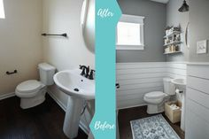 Check out this beautiful powder room reveal! This tiny bathroom was transformed from boring to fresh and modern! I love the shiplap and the modern classic decorations. Bathroom Decor Signs, Vintage Bathroom Decor, Modern Bathroom Decor, Budget Bathroom, Diy Room Decor, Home Decor, Bathroom Ideas, Bathrooms Decor, Design Bathroom