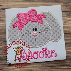 Girl Bunny Bow Applique - 4 Sizes! | What's New | Machine Embroidery Designs | SWAKembroidery.com Munchkyms Design