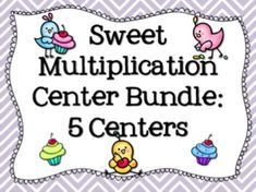 Sweet Multiplication Center Bundle: Ways to show multiplication task cards and sort, fact families, skip counting, roll and cover, Bump and bonus ways to show mult. posters $