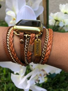 Boho Chic Apple Watch Band 44 Brown womans iwatch braided leather double wrap fashion band for Apple Watch series 1 2 3 4 Apple Watch Serie 1, Gold Apple Watch, Apple Watch Accessories, Silver Accessories, Leather Chain, Braided Leather, Apple Watch Bands Fashion, Cute Apple Watch Bands, Apple Watch Bracelets