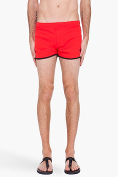 Y-3 Red Retro Swim Shorts for men | SSENSE. my booty shorts- they're in my closet!! I imagine what jaylon would look like in these?!!