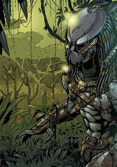 This sweet piece of Predator artwork comes to us via the talent of Roger Rovira. Wolf Predator, Predator Hunting, Alien Vs Predator, Batman Redesign, Alien Concept Art, Horror Movie Characters, Western Comics, Aliens Movie, Comic Art
