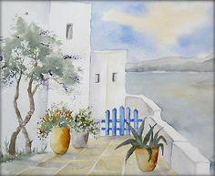 Griechische Impressionen  - Aquarell - 24 x 30 cm - Original - Landschaft