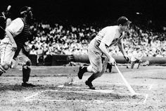 July 17, 1941 - In a brilliant setting of lights and before 67,468 fans, the largest crowd ever to see a game of night baseball in the major leagues, the Yankees vanquished the Indians 4-3, but the famous hitting streak of Joe DiMaggio finally came to an end going 0 for 3.