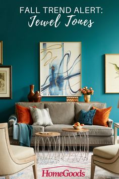 Create a warm and welcoming space this Fall with vibrant jewel tones, rich textures, and inventive contrasts. Check out our living room inspiration board for ideas on bringing the beauty of Autumn indoors x color combination orange + blue. Style At Home, Fall Home Decor, Diy Home Decor, Living Room Decor, Bedroom Decor, Teal Living Rooms, Master Bedroom, Dining Room, Home Interior