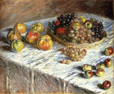 """Still Life with Apples And Grapes"" ・  by Claude Monet ・ Completion Date: 1879 ・ Style: Impressionism ・ Genre: still life"