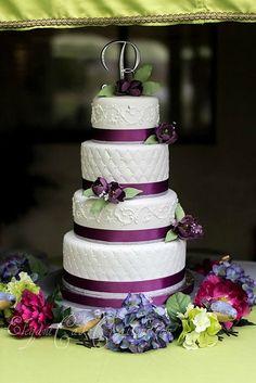 Plum Tulips Wedding Cake by Elegant Cake Creations AZ