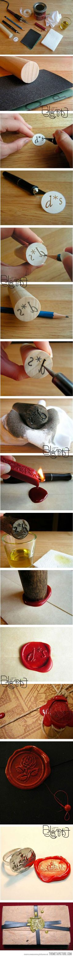 homemade wax seal... looks like some work... but its cool.