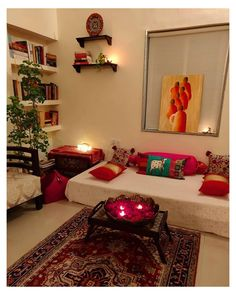 Decor Home Living Room, Home Decor Furniture, My Living Room, Living Room Designs, Furniture Stores, Online Furniture, India Home Decor, Ethnic Home Decor, Indian Living Rooms