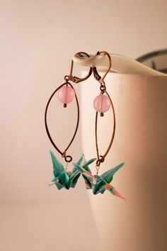 Origami 'TsuruBlue' earrings by UnePuceAlOreille on Etsy, €15.00