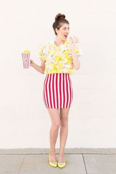 Popcorn halloween costume! http://www.stylemepretty.com/living/2016/10/15/50-genius-costume-ideas-for-everyone-from-your-puppy-to-your-squad/