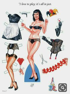 paper dolls cutout – Home crafts Pin Up Girl Vintage, Vintage Ladies, Paper Doll Costume, Nylons, Paper Dolls Printable, Actrices Hollywood, Bettie Page, Vintage Paper Dolls, Pin Up Style