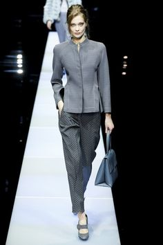 Giorgio Armani - Fall 2015 Ready-to-Wear - Look 12 of 66 The textures in this look are very pleasing. I love the high heeled mary-janes with the thick strap.