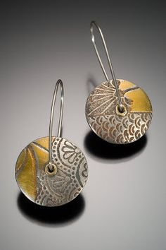"""Earrings   Nisa Smiley.  """"Lentil""""  Gold and sterling silver"""
