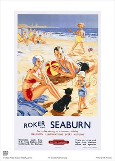Seaburn and Roker Railway Poster National Railway Museum, Victorian Buildings, Litho Print, Train Service, North East England, Railway Posters, Museum Shop, Sunderland