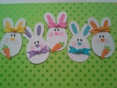 Celebrations: Spring & Easter Cards, Tags, Layouts, Albums & Party Favors ❤ Egg bunnies 2 dry embossed easter scrapbooking embellishments from chucklesandcharms Easter Projects, Easter Crafts For Kids, Diy Easter Cards, Hoppy Easter, Easter Bunny, Candy Cards, Scrapbook Embellishments, Creative Cards, Homemade Cards