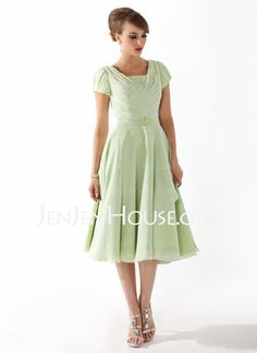 Mother of the Bride Dresses - $120.59 - A-Line/Princess Scoop Neck Tea-Length Chiffon Mother of the Bride Dresses With Ruffle Beading (008005918) http://jenjenhouse.com/A-Line-Princess-Scoop-Neck-Tea-Length-Chiffon-Mother-Of-The-Bride-Dresses-With-Ruffle-Beading-008005918-g5918