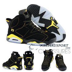 Nike Air Jordan 6   Classique Chaussure De Basket Homme Noir/Jaune-1