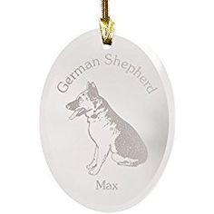 Personalized German Shepherd Christmas Ornament Glass