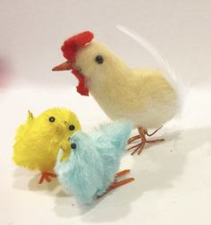 Vintage Spun Cotton Chick Chenille Baby Chicks Easter