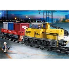Playmobil City Action Nowy zdalnie sterowany pociąg towarowy ze światłem i dźwiękiem, 5258, klocki