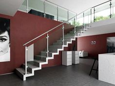 Indital Stainless Steel Square Newel Post with Glass Clamps - Newel Posts Indoor Railing, Modern Stair Railing, Stair Railing Design, Staircase Railings, Modern Stairs, Glass Stair Balustrade, Metal Handrails, Glass Railing, Square Newel Post