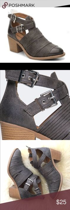 Grey Strappy Booties Worn 1x, these strappy booties are in near perfect condition. Everything looks perfect and unworn, just a few signs of wear on the bottom of the shoes (picture shown). Qupid Shoes Ankle Boots & Booties