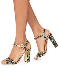 Dolce & Gabbana Sequin Block Heel Sandals 795