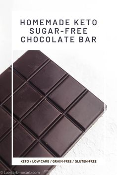 Allulose sweetened Homemade Keto Sugar-Free Dark Chocolate Bar Recipe made with only 3 ingredients in a few minutes is a perfect idea for your decadent quick and easy Keto Treat. Fully Low Carb, Gluten-Free, Dairy-Free, and Vegan, this perfect Chocolate Bar is a base for any additional flavors. Sugar Free Dark Chocolate, Dark Chocolate Bar, Low Carb Chocolate, Melting Chocolate, Chocolate Bar Recipe, Chocolate Roulade, Chocolate Chia Seed Pudding, Low Carb Candy, Keto Candy