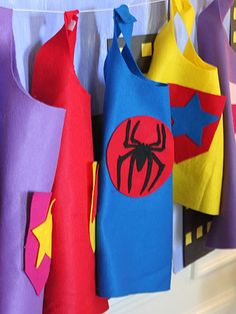 No Sew Superhero Capes -- Best Kids' Crafts for Boys: also superhero masks and cuffs: paper plate race track; lego balloon racer