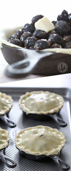 Mini Blueberry Skillet Pies - skillet baking recipes - blueberry pie summer recipe