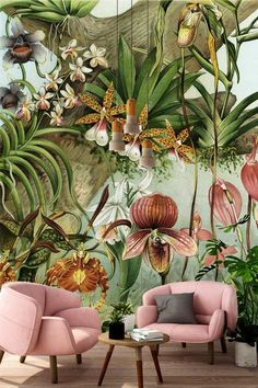 Home Decor On A Budget New Wallpapers From Cara Saven Wall Design - Visi.Home Decor On A Budget New Wallpapers From Cara Saven Wall Design - Visi Interior Tropical, Tropical Decor, Tropical Furniture, Tropical Colors, Botanical Interior, Tropical Design, Tropical Style, Wallpaper Decor, New Wallpaper