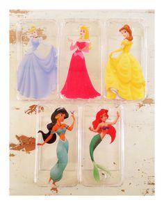 Cinderella, Aurora, Belle, Jasmine, or Ariel clear iPhone case