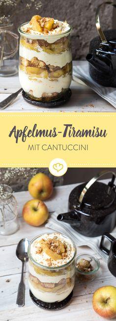 Dieses köstlich frische Apfelmus Tiramisu mit Cantuccini ist für groß und klein! Denn es ist komplett ohne Kaffee und Alkoholfrei.