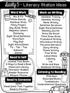 FREE Daily 5 Menu  / Literacy Station Ideas PrintableI have compiled ideas to use for Daily 5. The girth of these ideas stem from Work on Writing and Word Work. I have received a lot of questions from new teachers on how/what to do at those stations! There are so many awesome resources out there that embody these basic ideas.I hope this helps you with planning and organize your thoughts and ideas!