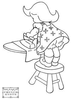 [자수자료 공유] 귀여운 여자아이 : Redwork 레드웍 자수 자료 : 네이버 블로그