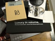 Bang & Olufsen earphones. Gift from Audi!