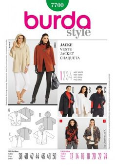 Burda Ladies Easy Sewing Pattern 7700 Casual One Button Jackets & Coats | Sewing | Patterns | Minerva Crafts