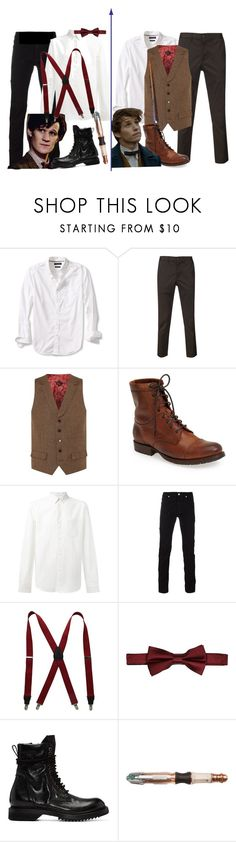 """""""A fanfic I plan on writing eventually"""" by leopardwolf ❤ liked on Polyvore featuring Banana Republic, 321, Frye, A.P.C., Versace, Stacy Adams, River Island, Rick Owens, men's fashion and menswear"""